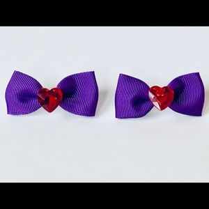 Purple bow hair clip set with red heart rhinestone